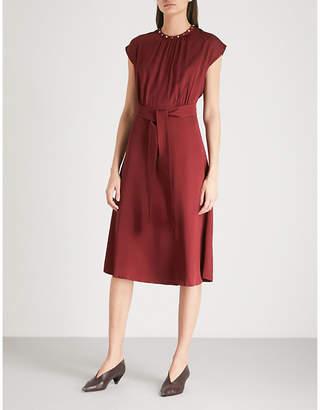 Sandro Faux pearl-embellished satin dress