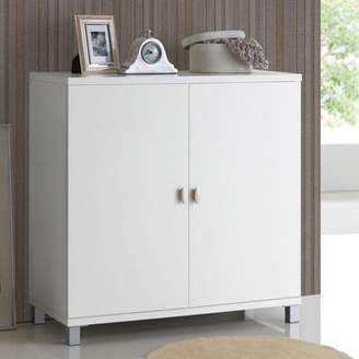 Baxton Studio Marcy Modern and Contemporary White Wood Entryway Handbags or School Bags Storage Sideboard Cabinet