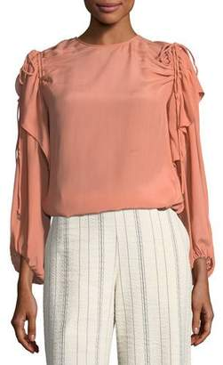 See by Chloe Blush Draped Long-Sleeve Top