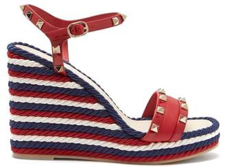 Valentino Rockstud Torchon Leather Wedge Sandals - Womens - Red