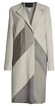Lafayette 148 New York Women's Calf Hair And Leather Combo Coat