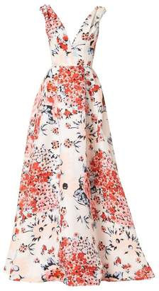 ab91cec9493a Carolina Herrera Sleeveless V-Neck Floral Gown