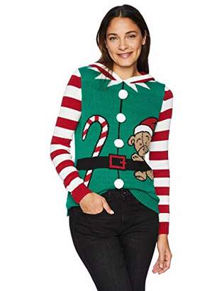 616e1902434c32 Ugly Christmas Sweater Company Women's Ugly Christmas Sweater-Elf Hoodie