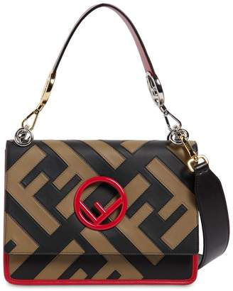 Fendi Medium Kan I Logo Patchwork Leather Bag