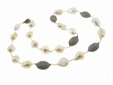 Joannes Treasure Hunt Creamy Mauvy Groovy South Sea Pearls with Diamond Beads