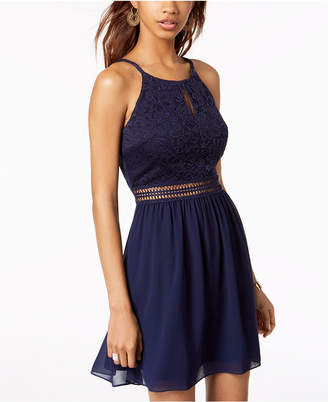 BCX Juniors' Lace & Chiffon Fit & Flare Dress