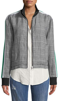 Current/Elliott Dassen Plaid Side-Stripe Linen Bomber Jacket