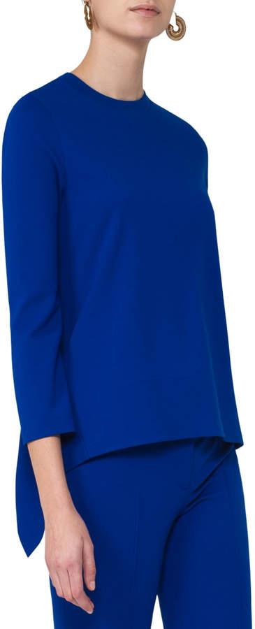 Akris PuntoAkris Punto Bracelet-Sleeve Jersey Tunic, Blue