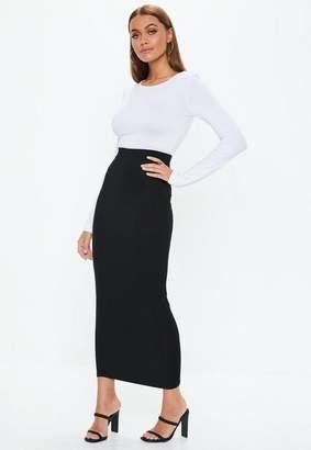 Missguided Black Jersey Midi Skirt