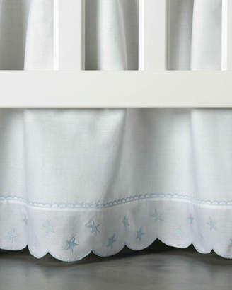 Bovi Fine Linens Twinkle Crib Dust Skirt, White/Blue