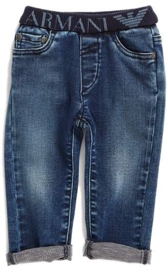 Elastic Waist Cuffed Jeans