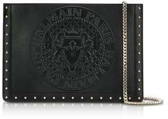 Balmain Domaine Black Smooth Leather Mini Pouch W/embossed Blazon