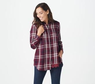 Logo By Lori Goldstein LOGO by Lori Goldstein Woven Plaid Button-Front Shirt w/ Lace