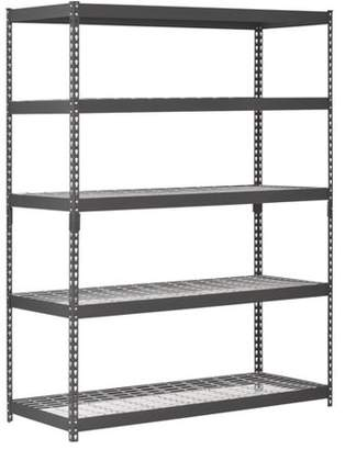 "Edsal Muscle Rack 60""W x 24""D x 78""H Five-Shelf Heavy-Duty Steel Shelving Unit, Black"
