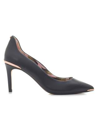Ted Baker Leather Mid Heel Court Shoes Colour: BLACK, Size: UK 3