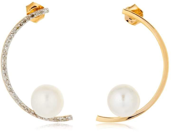 Ohrringe Mit Perlen Und Diamanten Half Moon