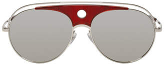 Alain Mikli Paris Silver and Red Toujours Aviator Sunglasses
