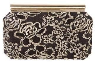 Oscar de la Renta Embroidered Box Clutch
