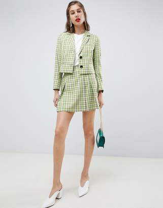 Asos Design DESIGN tailored mini skirt in yellow and green check