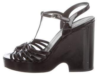Chanel CC Patent Leather Platform Sandals