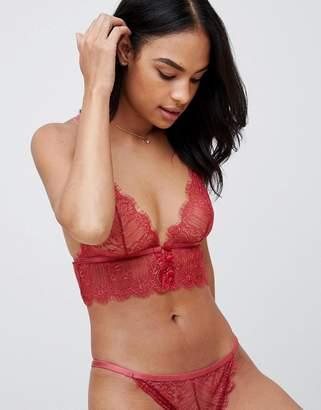 Asos Design DESIGN Rebecca longline eyelash triangle bra