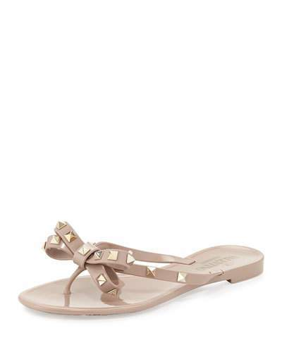 Valentino Rockstud PVC Thong Sandal, Poudre
