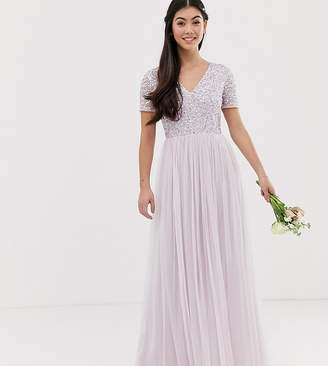 Maya Petite Bridesmaid v neck maxi tulle dress with tonal delicate sequin in soft lilac