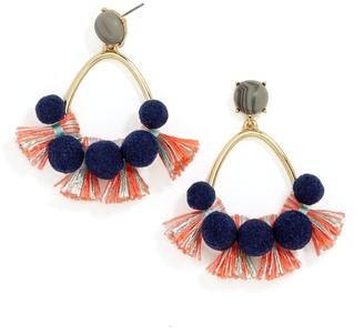 Melina Pom Pom Earrings $34 thestylecure.com