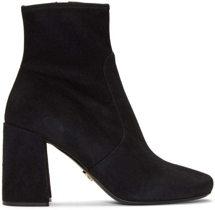 Prada Black Stretch Suede Boots