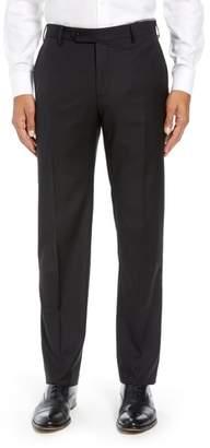 Zanella Parker Flat Front Solid Wool Trousers