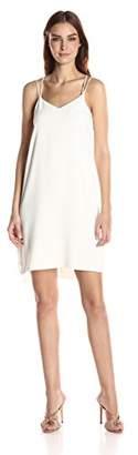 Halston Women's Sleeveless Double Strap Cami Slip Dress