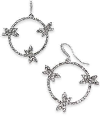 INC International Concepts I.n.c. Woman Silver-Tone Pave Dragonfly Drop Hoop Earrings