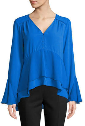 Halston H Mixed Media Flutter Top