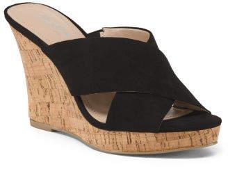 Cross Strap Cork Wedge Slide Sandals