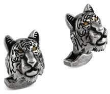 Tateossian Swarovski Crystals& Gunmetal-Plated Tiger Cufflinks