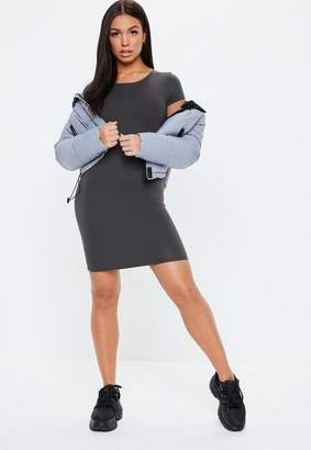 Missguided Gray Crew Neck Bodycon Mini Dress