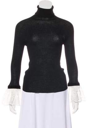 Philosophy di Alberta Ferretti Rib-Knit Lace Trim Sweater