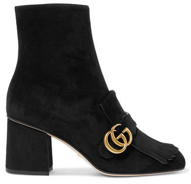 Gucci - Marmont Fringed Suede Ankle Boots - Black
