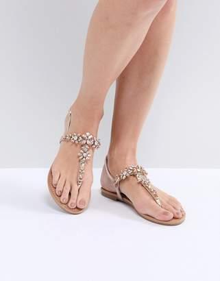 Faith Jile Rose Gold Embellished Flat Sandals