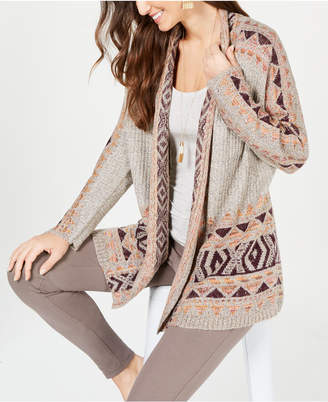 Style&Co. Style & Co Geometric Jacquard-Knit Sweater Coat