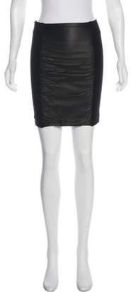 Theory Leather-Paneled Mini Skirt