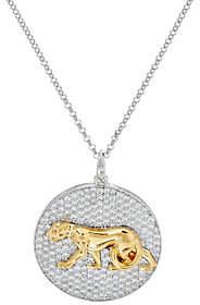 Diamonique TOVA for Panther Pendant w/ Chain,Sterling