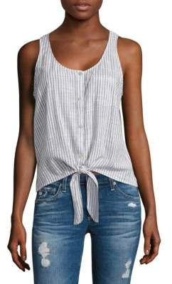 AG Adriano Goldschmied Cynthia Striped Tie-Front Tank Top