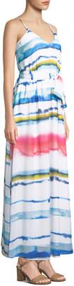 Catherine Malandrino Tie-Dye Striped Chiffon Maxi Dress