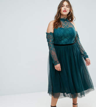 Asos PREMIUM Tulle Cold Shoulder Midi Prom Dress