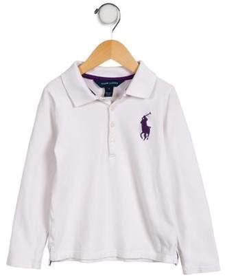 Ralph Lauren Girls' Long Sleeve Polo Top