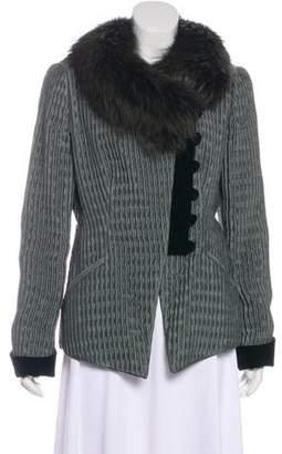 Armani Collezioni Fur-Trimmed Textured Jacket