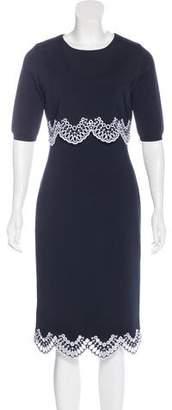 Oscar de la Renta Short Sleeve Midi Dress