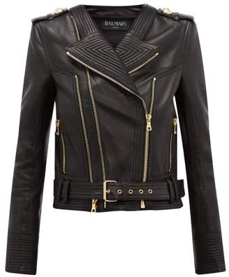 Balmain Ribbed Leather Biker Jacket - Womens - Black