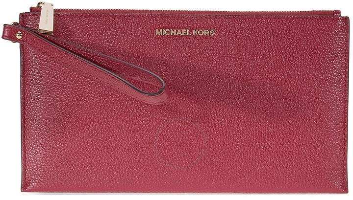 Michael Kors Mercer Large Pebbled Leather Wristlet- Mulberry - ONE COLOR - STYLE